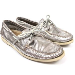 Sperry Top Sider Silver Python Flat Boat Shoes 11